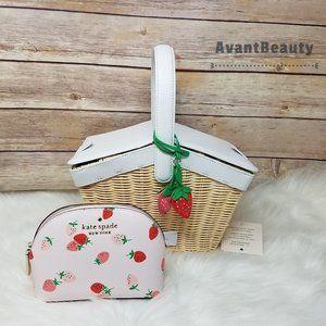 Kate Spade Strawberry Wicker Basket Cosmetic Case